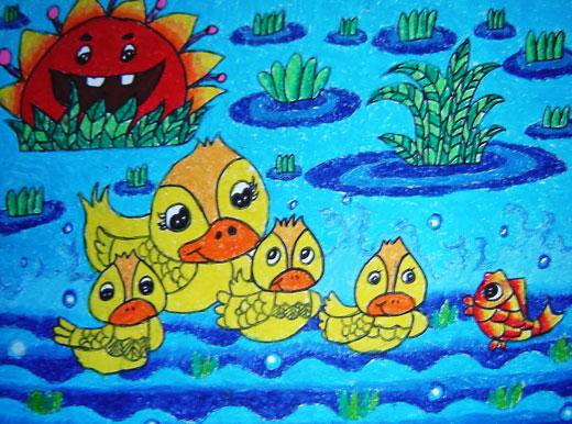 儿童彩笔画作品 游过一群鸭