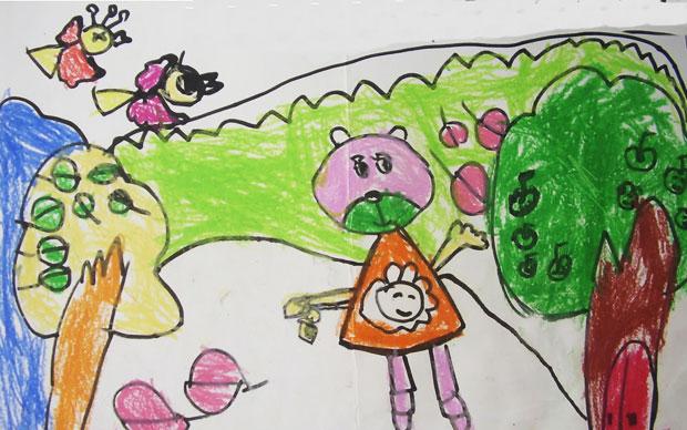 童彩笔画作品 秋天的树林