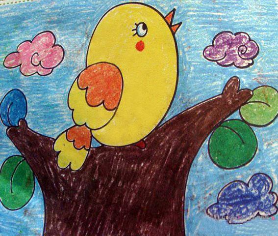 儿童油棒画作品:胖胖的小鸟