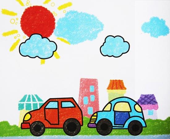儿童彩笔画作品:城市街景