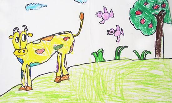 儿童彩笔画作品:快乐的奶牛