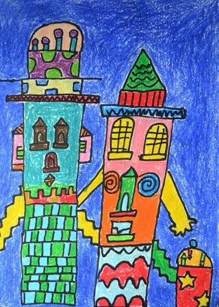 儿童彩笔画作品:人形城堡