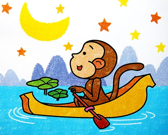 儿童彩笔画作品 小猴划船