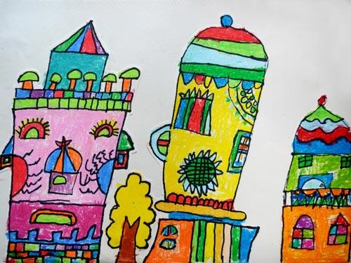 儿童彩笔画作品:环保画