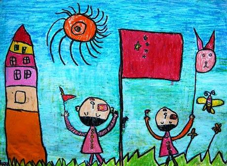 儿童彩笔画作品 欢度国庆
