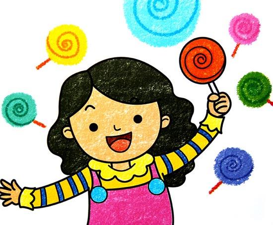 儿童彩笔画作品:爱棒棒糖的女孩