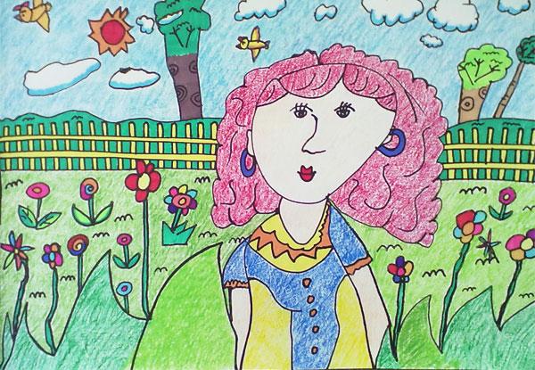 小学儿童彩笔画作品图片