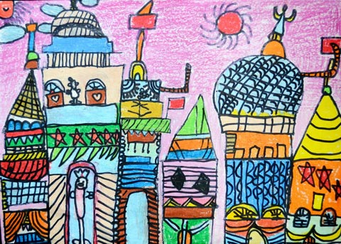 儿童彩笔画作品:城市,画画网