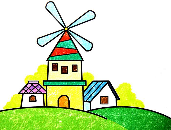 儿童彩笔画作品 大风车