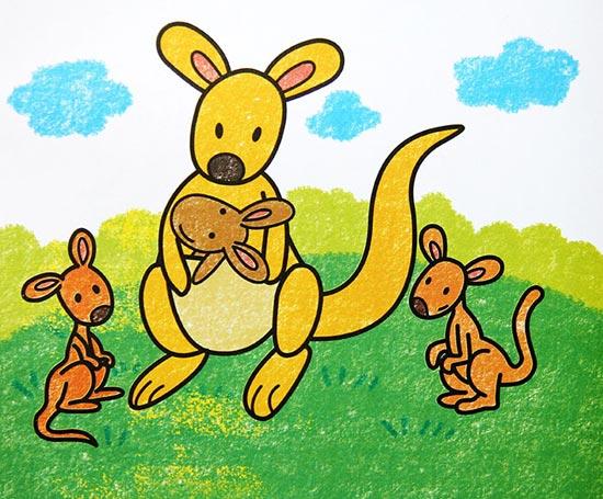 儿童彩笔画作品 袋鼠一家