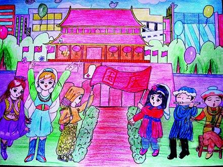 儿童彩笔画作品 国庆节