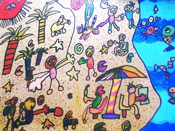 儿童彩笔画作品:海滩,画画网