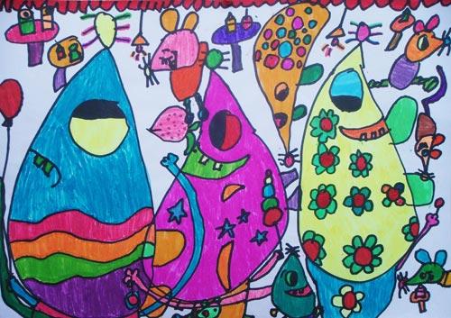 儿童油棒画作品:卡通小老鼠