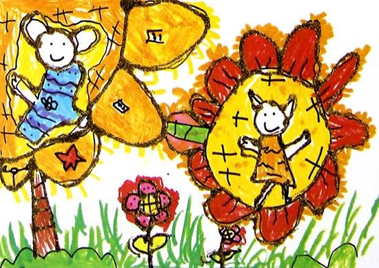 儿童水粉画作品:太阳花