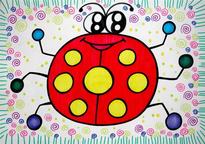 儿童彩笔画作品:七星瓢虫