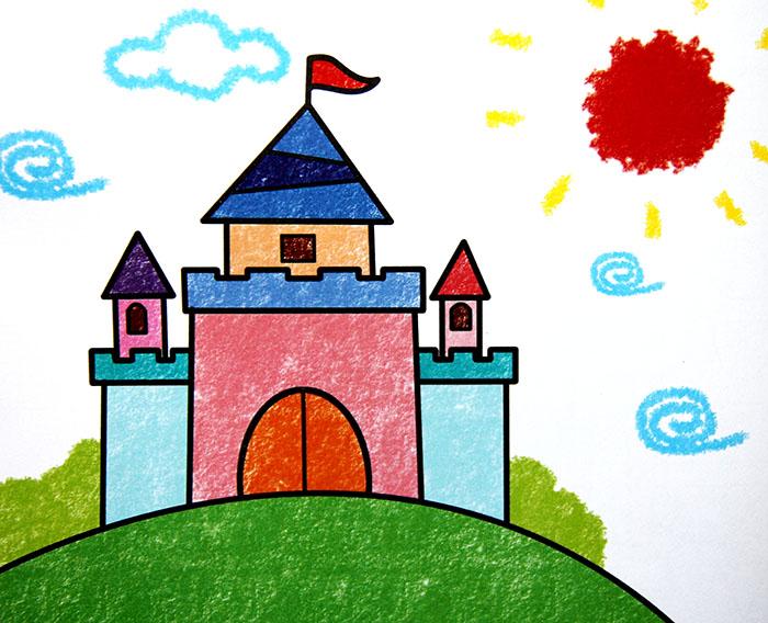 儿童彩笔画作品:红旗城堡