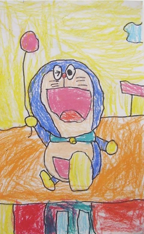 儿童彩笔画作品:机器猫