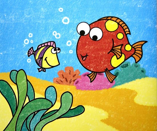 儿童彩笔画作品:两条小鱼图片