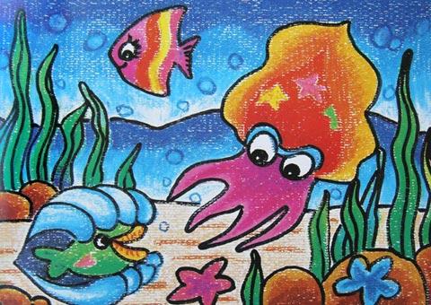 儿童电脑油棒画作品:海底世界