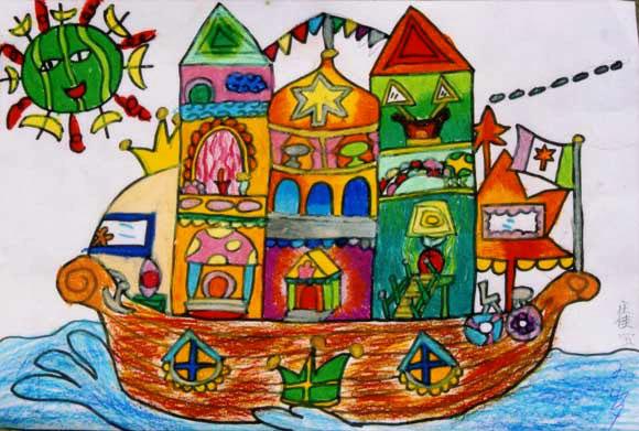 船画画图片儿童画-儿童油棒画作品 城堡船图片