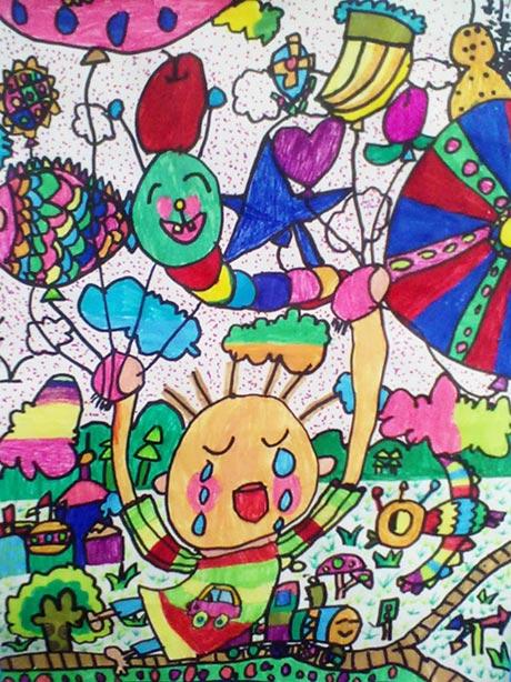 儿童油棒画作品:城市,画画网