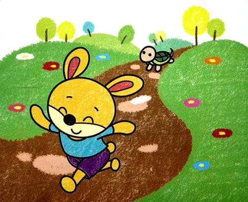 儿童油棒画作品 龟兔赛跑