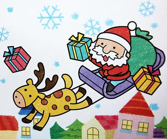 儿童彩笔画作品 圣诞老公公