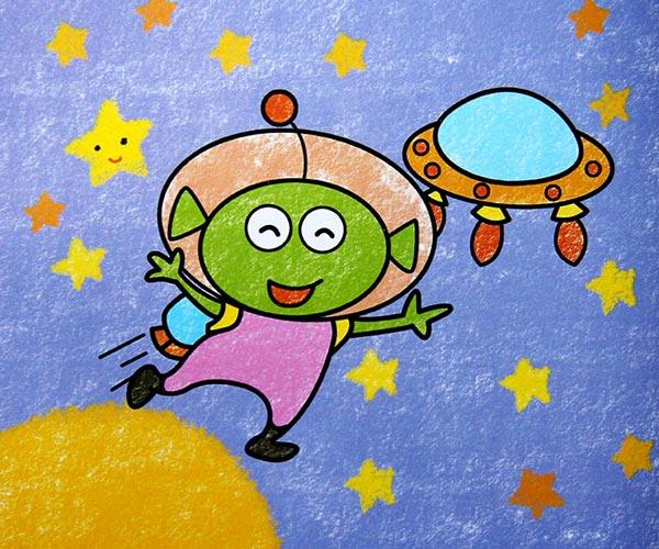 儿童彩笔画作品:外星人