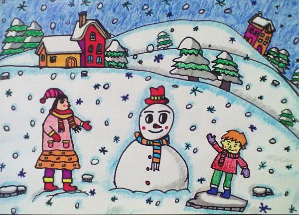 儿童彩笔画作品 下雪了