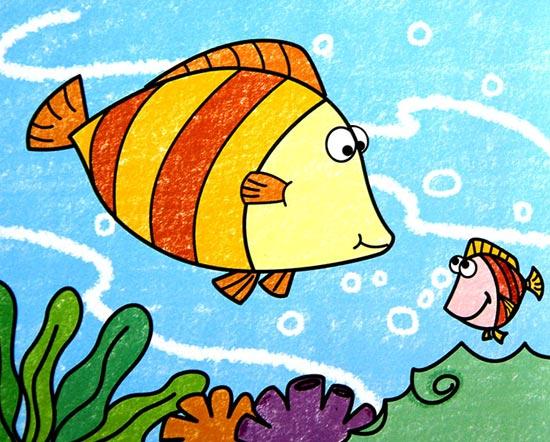 儿童彩笔画作品:小丑鱼