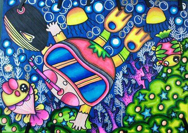儿童电脑水粉画作品:奇妙的海底世界