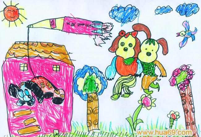 儿童彩笔画作品小狗和小兔