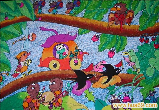 儿童水彩画森林里音乐会;