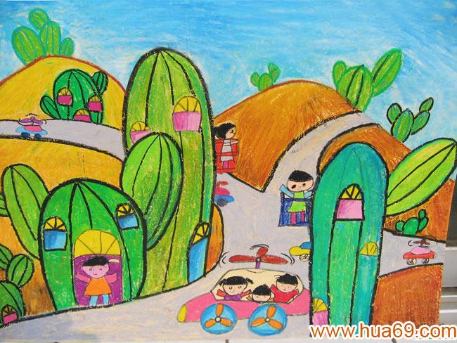 儿童画画大全蜡笔画-蘑菇小房子   儿童油棒画作品:沙漠的高清图片