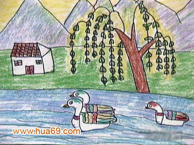 儿童油棒画作品:春天的柳树