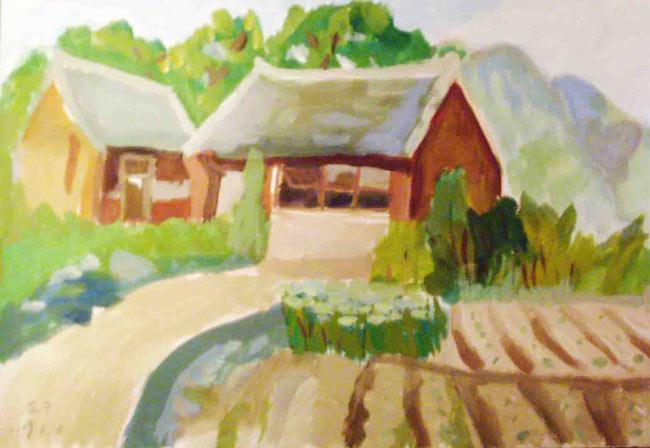 儿童水粉画作品 山坡上的房子