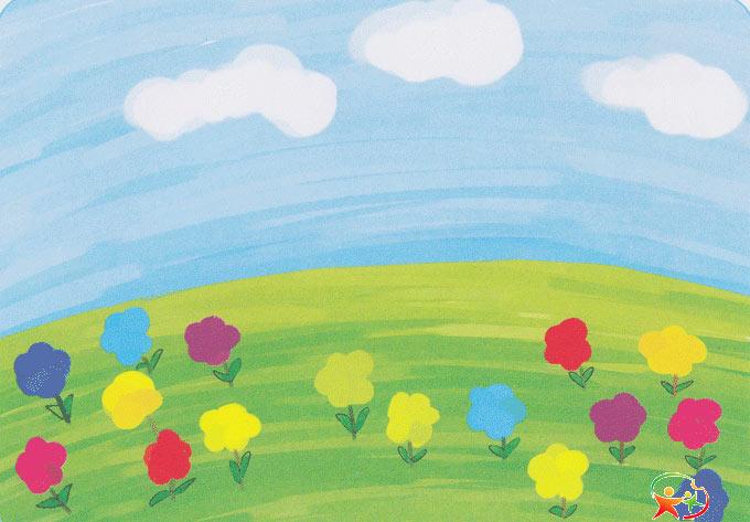 儿童水粉画作品:春天风景