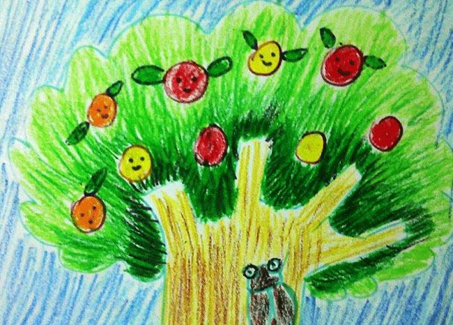 丰收的苹果树 最丰收的苹果树图片 儿童画秋天苹果树丰收