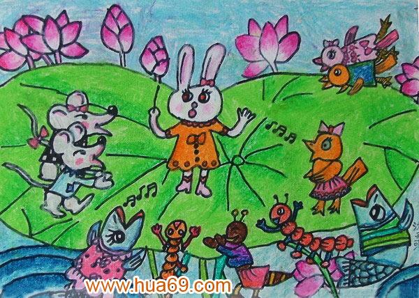 动物唱歌简笔画-儿童油棒画作品 动物大合唱