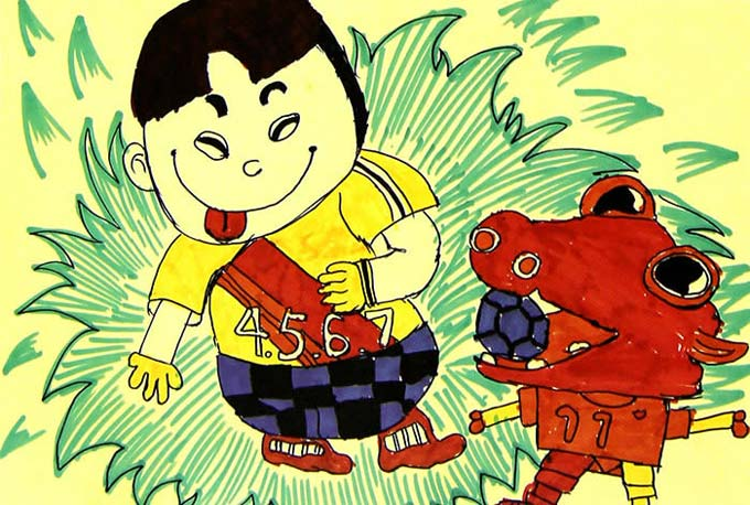 儿童画彩笔画作品 小孩和小狗