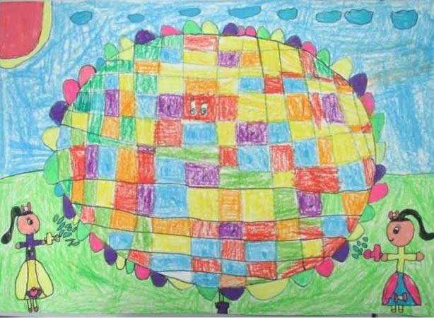 儿童画彩笔画作品:彩色气球