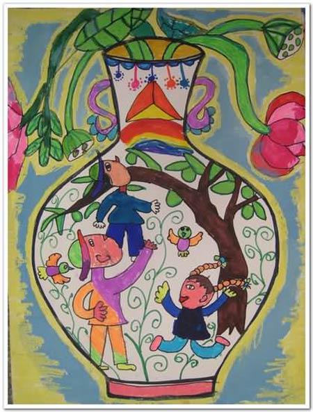 儿童画彩笔画作品:花瓶里的世界