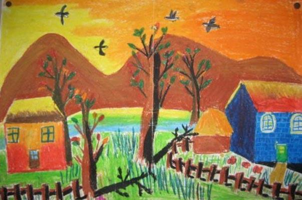 兒童畫油棒畫作品:小村莊