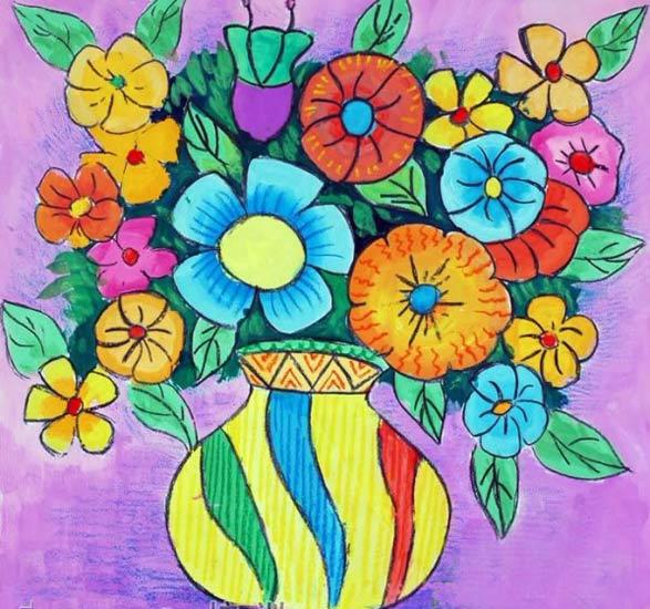 儿童画彩笔画作品 彩色的花