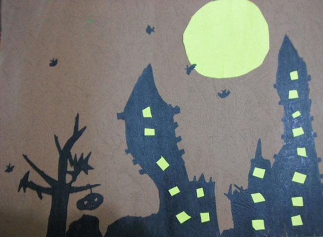 儿童画彩笔画作品 城市的夜晚