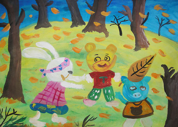 儿童画水粉画作品:小动物玩游戏