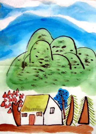 儿童画彩笔画作品:春天美景3,画画网