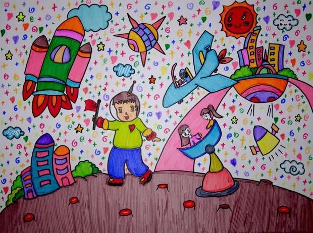 儿童画彩笔画作品:从小爱科学