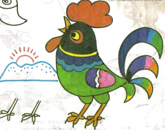 儿童画彩笔画作品:打鸣的公鸡