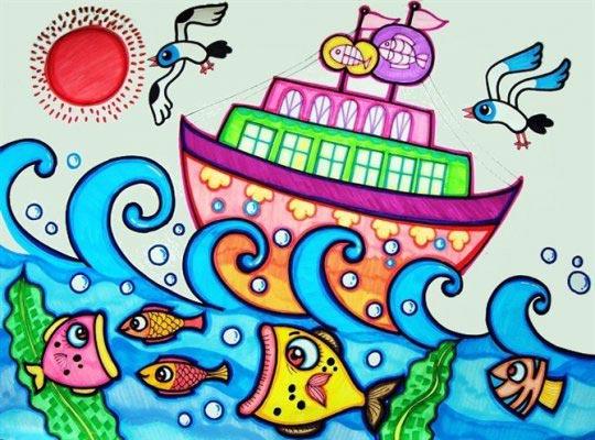 儿童画彩笔画作品 大海里的船图片